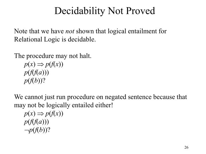 Decidability Not Proved