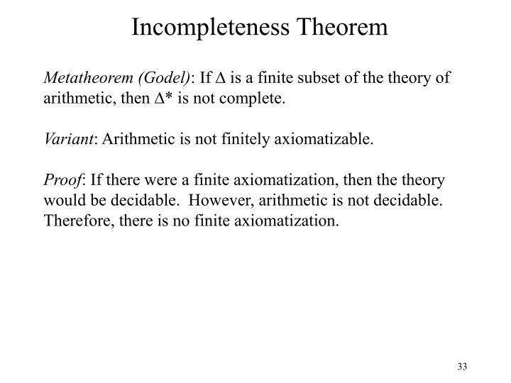 Incompleteness Theorem