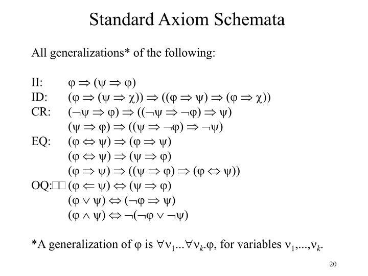 Standard Axiom Schemata