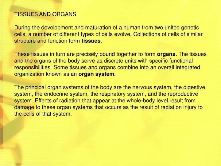 TISSUES AND ORGANS