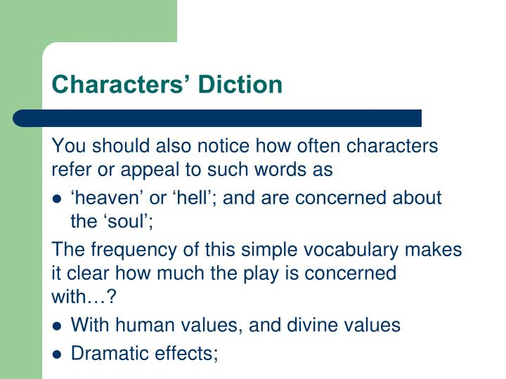 Characters' Diction