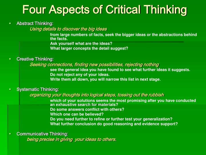 Four aspects of critical thinking