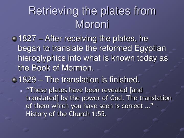Retrieving the plates from Moroni
