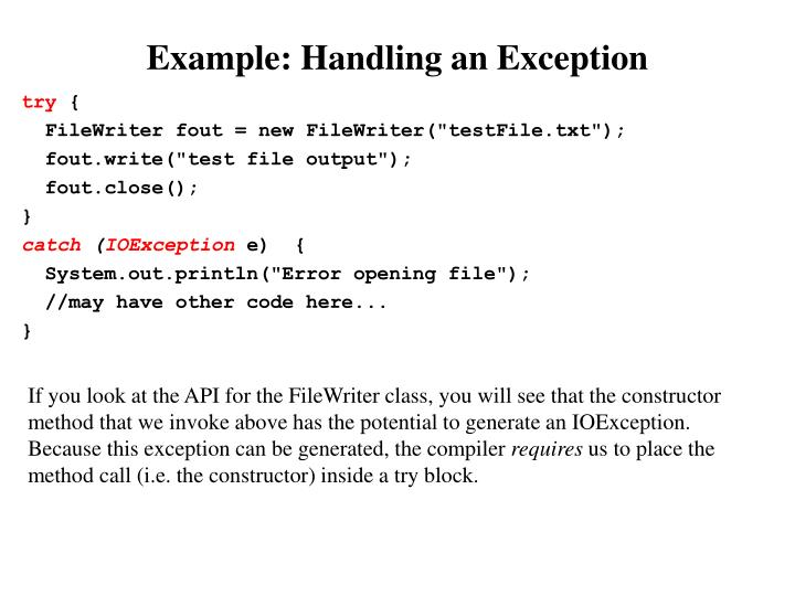 Example: Handling an Exception