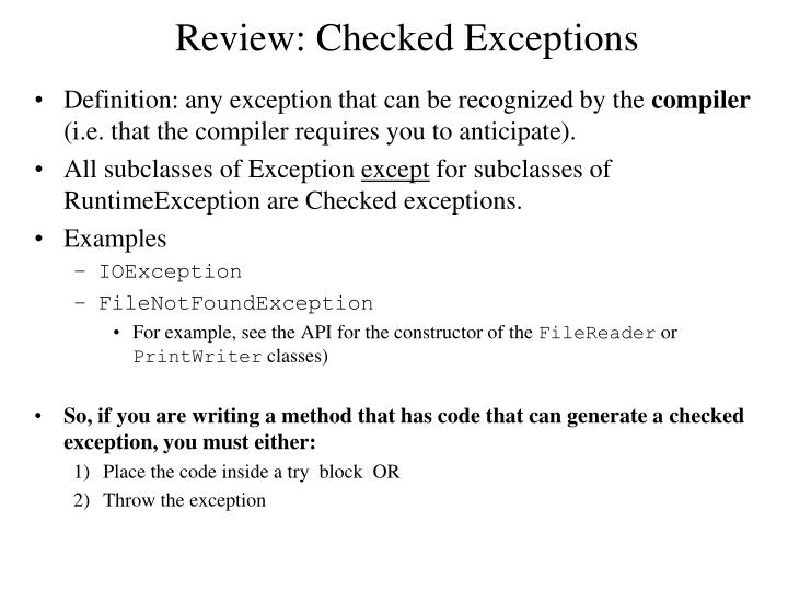 Review: Checked Exceptions