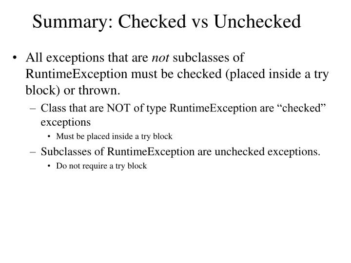 Summary: Checked vs Unchecked