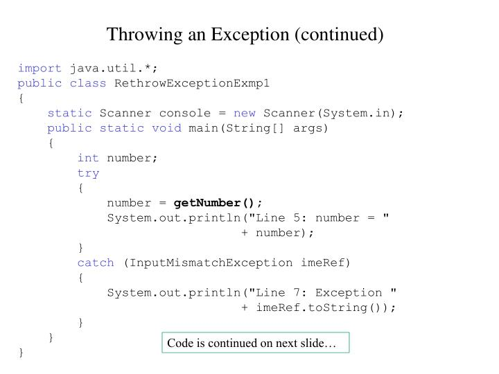 Throwing an Exception (continued)