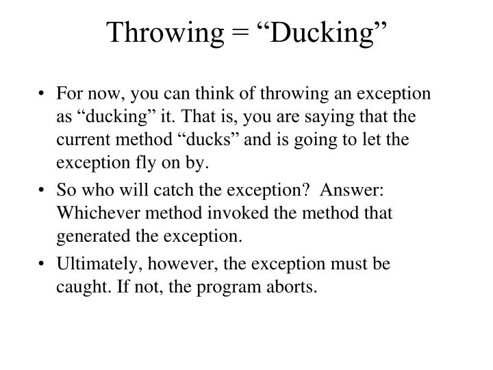 "Throwing = ""Ducking"""