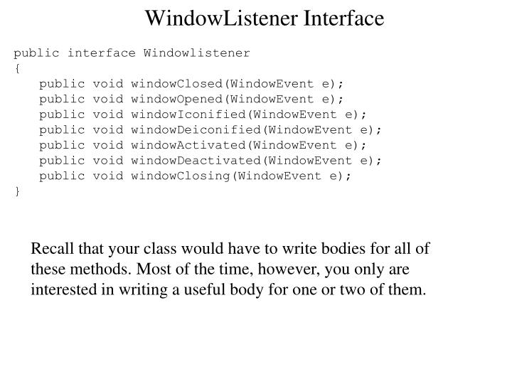 WindowListener Interface