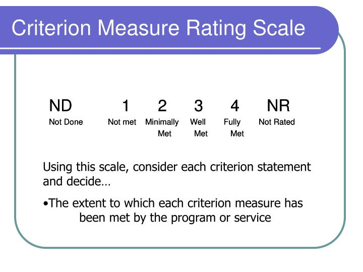 Criterion Measure Rating Scale