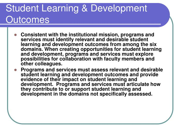 Student Learning & Development Outcomes