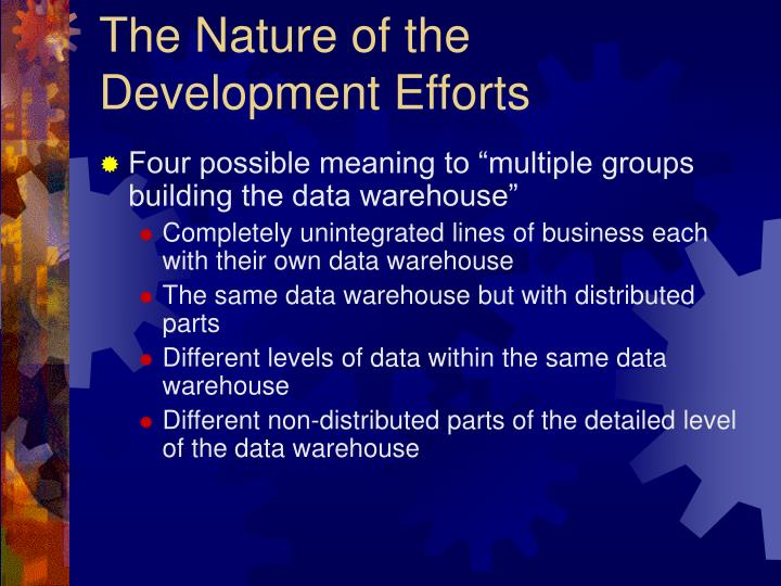 The Nature of the Development Efforts