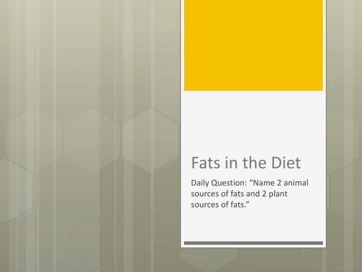 fats in the diet n.