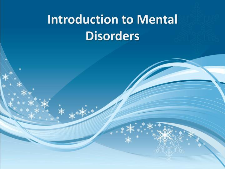 introduction to mental disorders n.