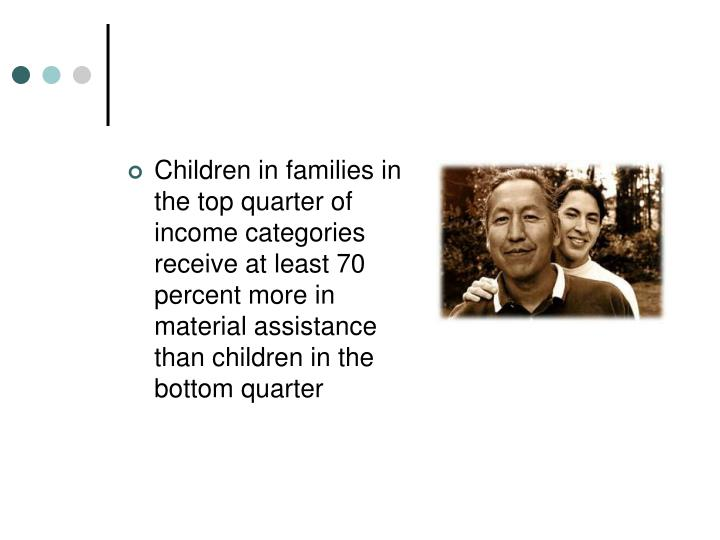Children in families in the top quarter of income categories receive at least 70 percent more in material assistance than children in the bottom quarter