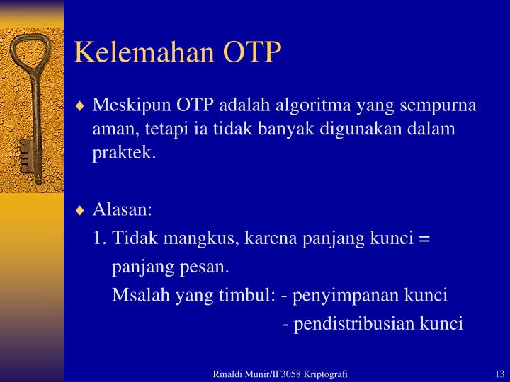 Kelemahan OTP