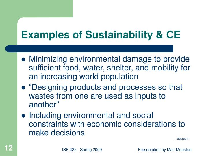 Examples of Sustainability & CE