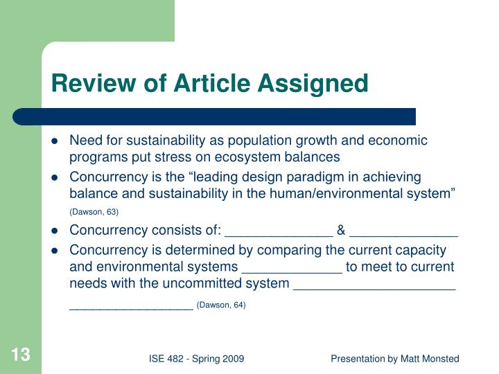 Review of Article Assigned
