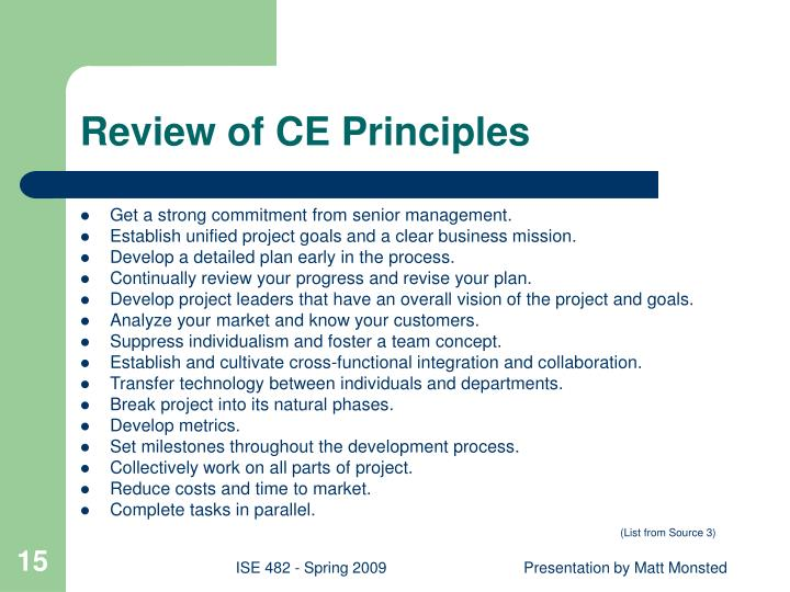 Review of CE Principles