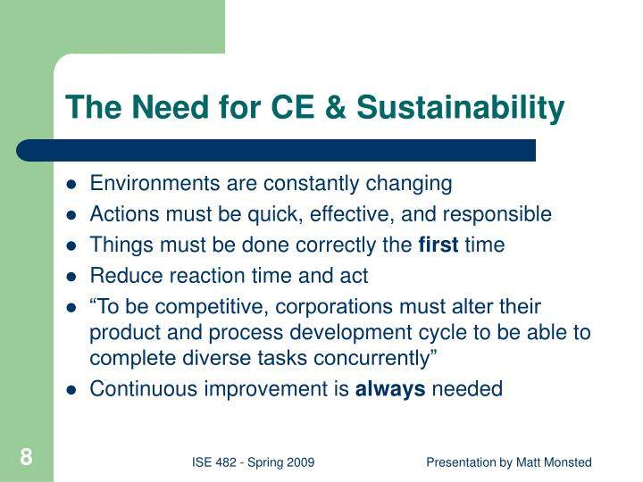 The Need for CE & Sustainability