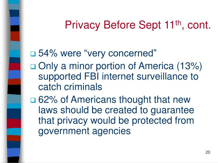Privacy Before Sept 11