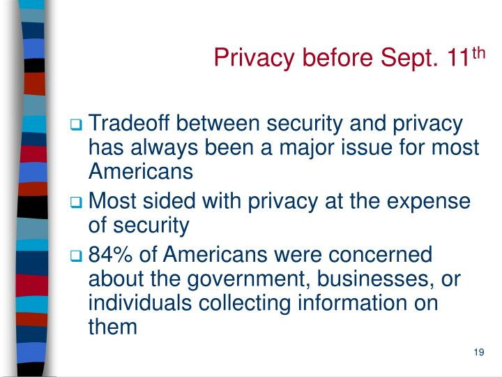 Privacy before Sept. 11