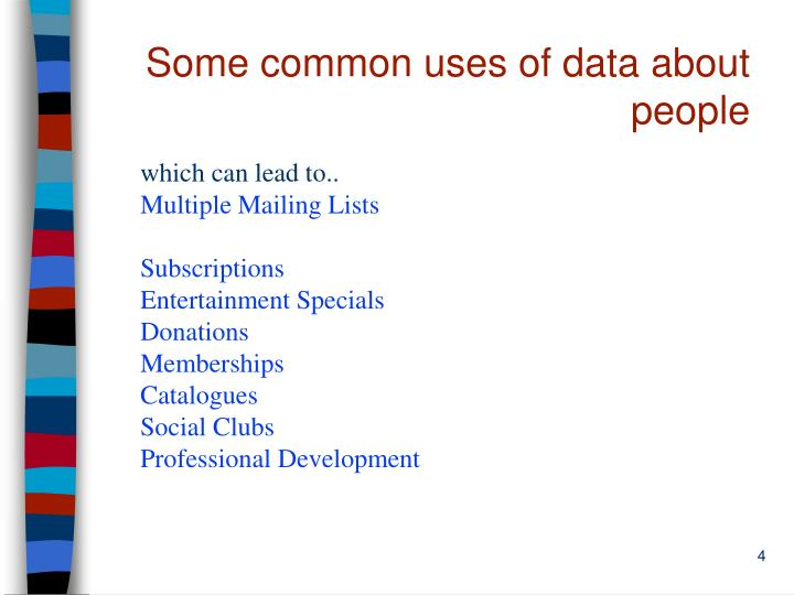 Some common uses of data about people