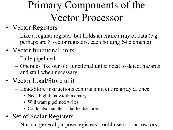 Primary Components of the Vector Processor