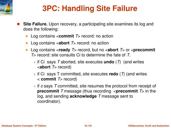 3PC: Handling Site Failure