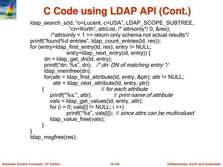 C Code using LDAP API (Cont.)