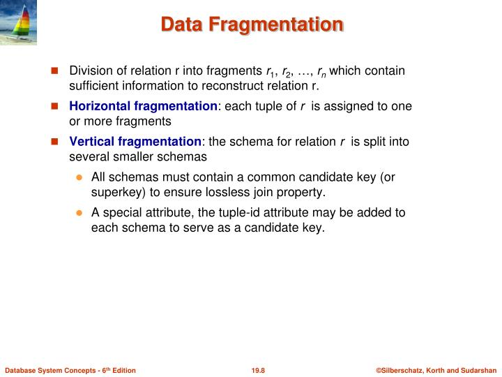 Division of relation r into fragments