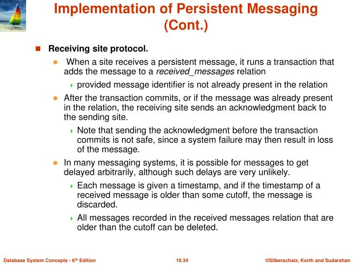 Implementation of Persistent Messaging (Cont.)