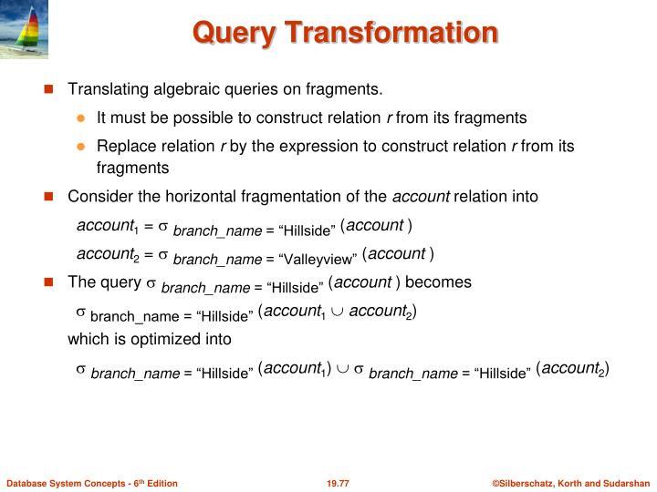 Translating algebraic queries on fragments.