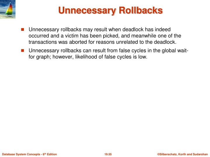Unnecessary rollbacks may result when deadlock has indeed occurred and a victim has been picked, and meanwhile one of the transactions was aborted for reasons unrelated to the deadlock.