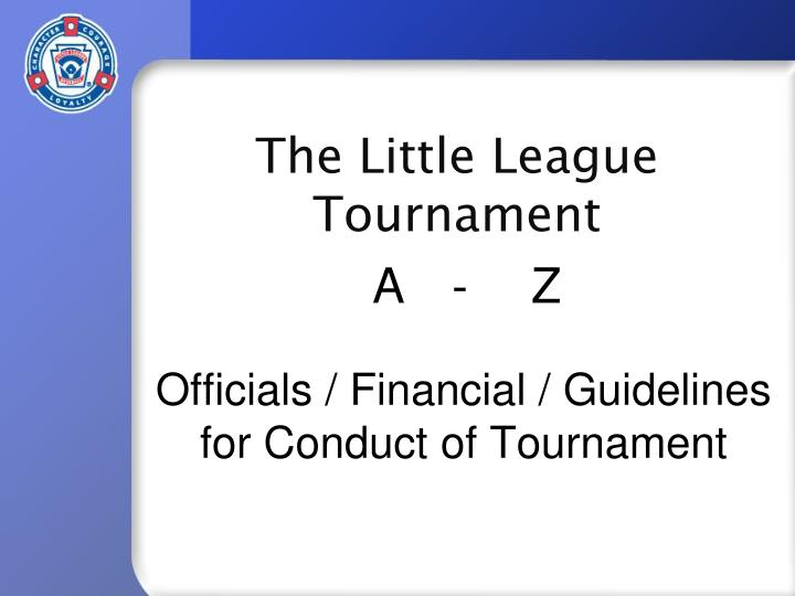 officials financial guidelines for conduct of tournament n.