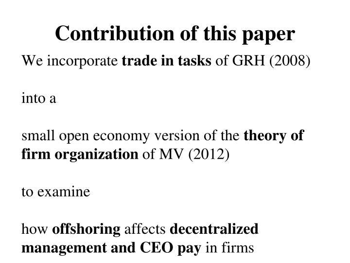 Contribution of this paper