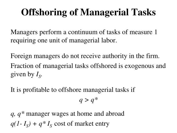 Offshoring of Managerial Tasks