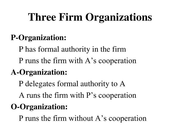 Three Firm Organizations