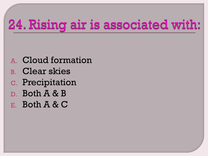 24. Rising air is associated with: