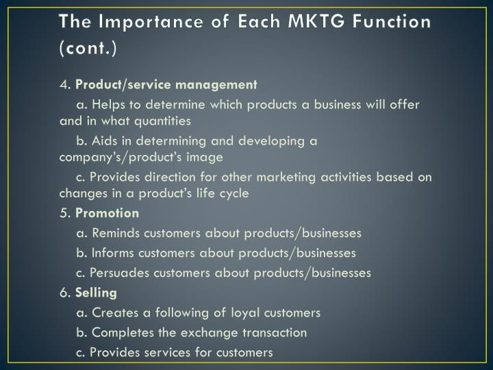 The Importance of Each MKTG
