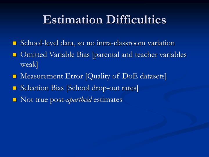 Estimation Difficulties