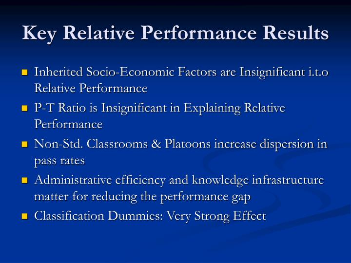 Key Relative Performance Results