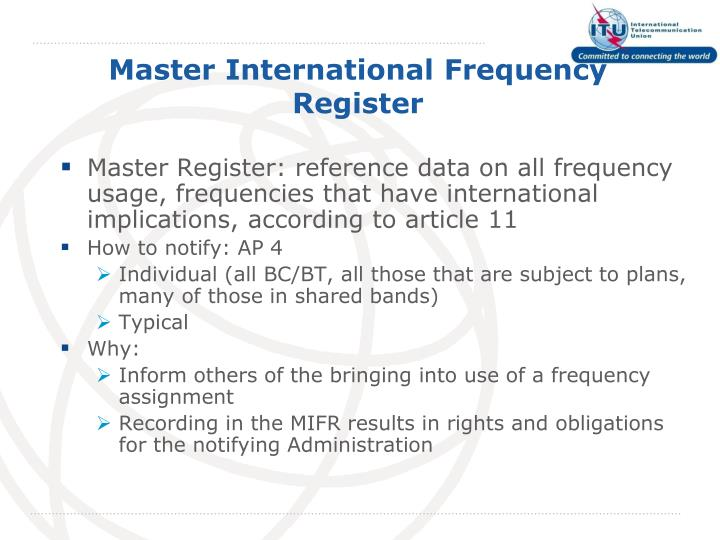 Master international frequency register