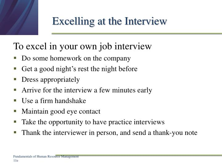 Excelling at the Interview