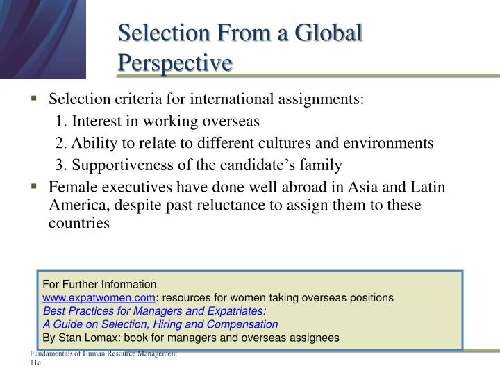 Selection From a Global Perspective