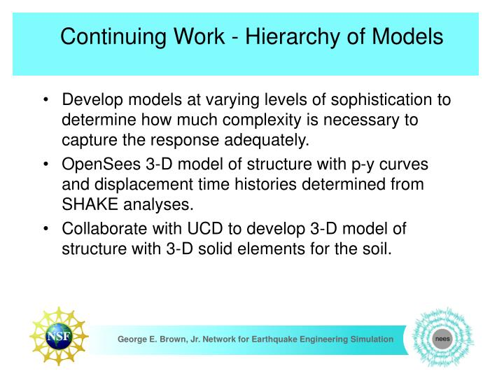 Continuing Work - Hierarchy of Models