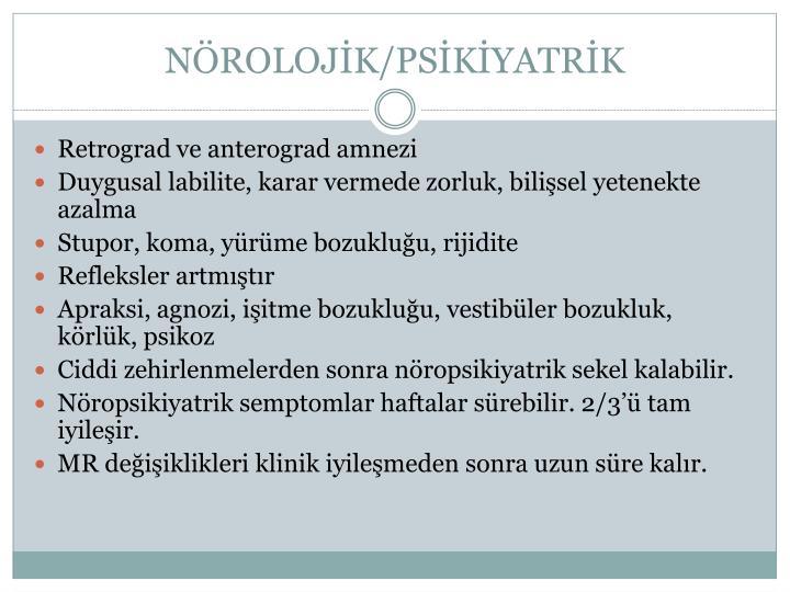 NÖROLOJİK/PSİKİYATRİK