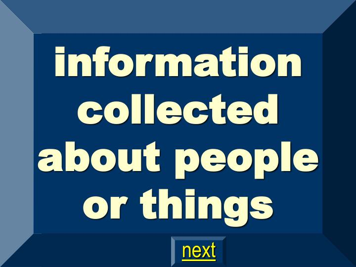 information collected about people or things