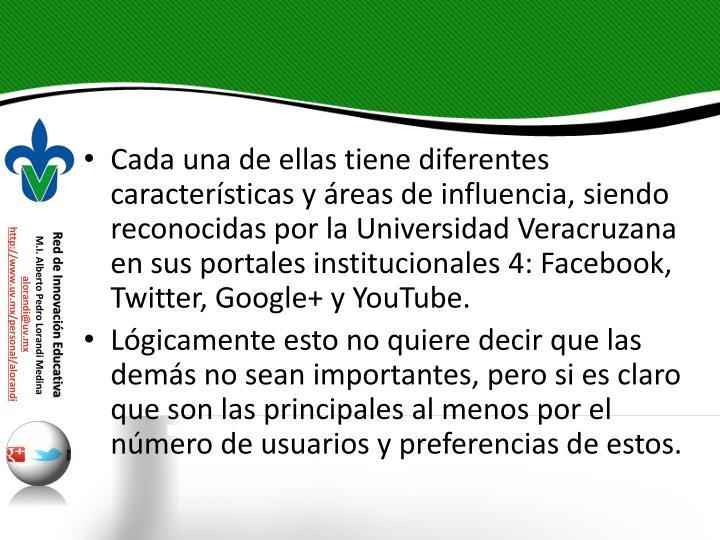 Cada una de ellas tiene diferentes características y áreas de influencia, siendo reconocidas por la Universidad Veracruzana en sus portales institucionales 4: Facebook, Twitter, Google+ y YouTube.