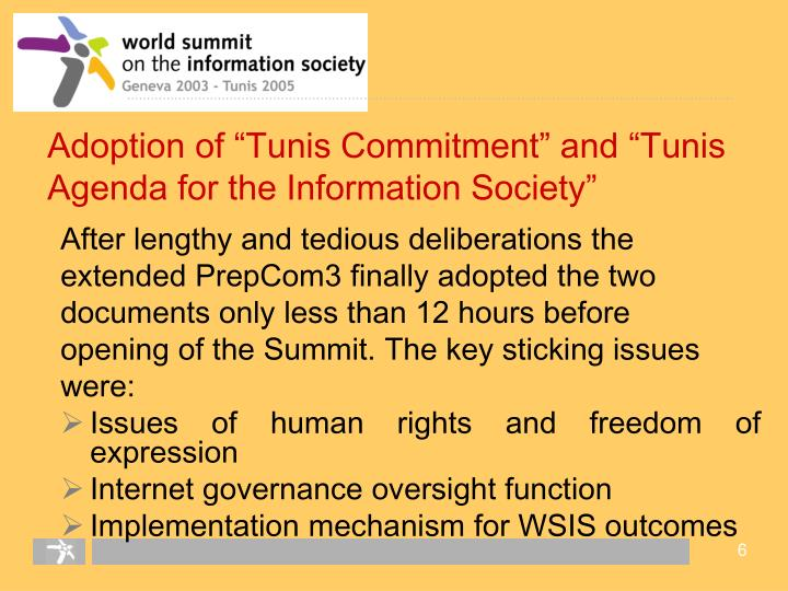"""Adoption of """"Tunis Commitment"""" and """"Tunis Agenda for the Information Society"""""""